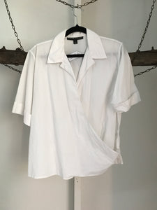 Ralph Lauren White Cross Over Blouse Black Label Size 12