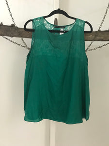Zara emerald green with lace backing silk top Size L ( 12)