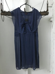 Monroe navy and white spots sheer dress with underlay Size 18 NWT