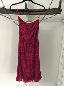 Urbane pink and purple spot print. Strapless dress Size 8