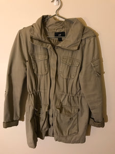 H&M khaki green jacket with hood Size US10