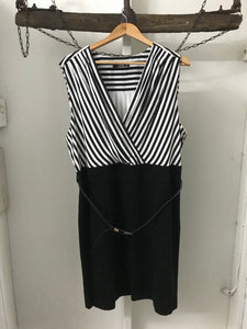 Lula black/white stripe cross front with belt dress Size 20