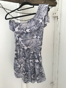 Grab denim navy print one shoulder playsuit Size XS estimated 6-8