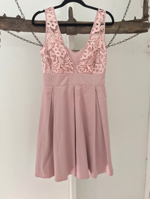 Review dusty satin pink lace cocktail dress Size 8