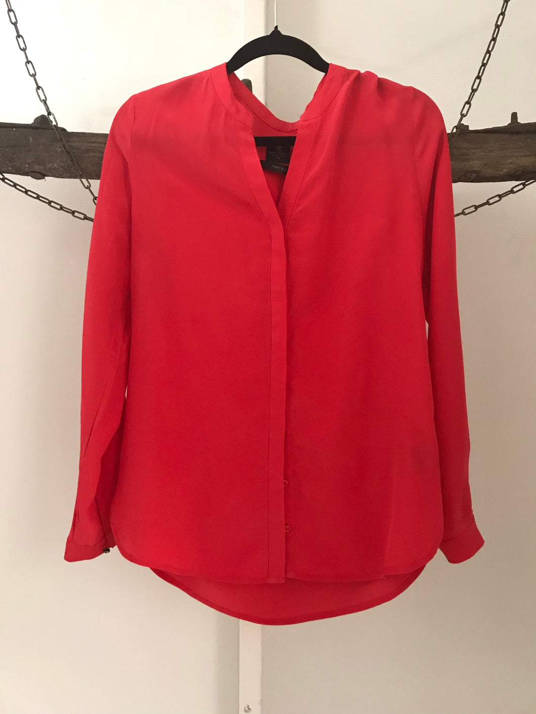 David Lawrence red silk long sleeve blouse Size 8