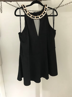 City Chic black peplum with gold chain neck piece top Size XL (estimated 22)