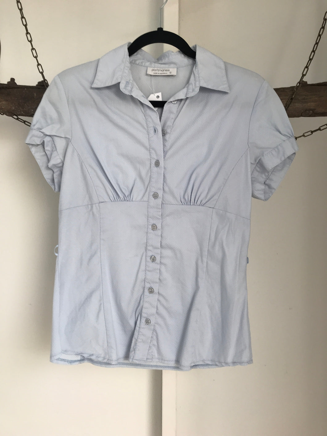 Portmans Blue Button Up Blouse Size 10