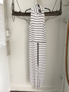 Factorie Black/white Stripe Long Dress Size 6