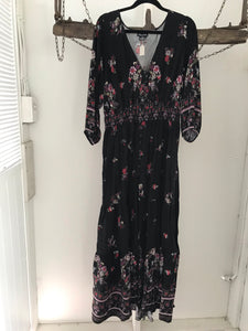 City Chic black with red/brown flowers long dress with button up front Size XS (14)