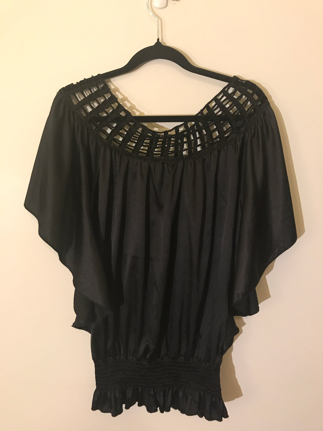 Windsor mesh neck black top bat-wing Size XS (estimate 10)