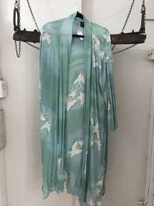 Inti long turquoise/white cardigan One size