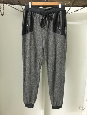 White Closet grey shimmer pants with faux leather pockets Size 10