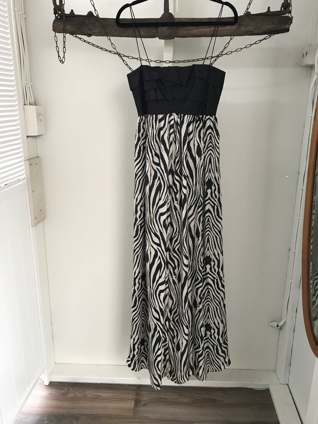 Wish Black/White Zebra Evening Long Dress Size 8
