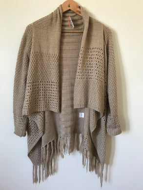 Leonie long knitted beige waterfall cardigan Estimated Size 12