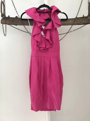 Blue Juice pink halter ruffle cocktail dress Size 8