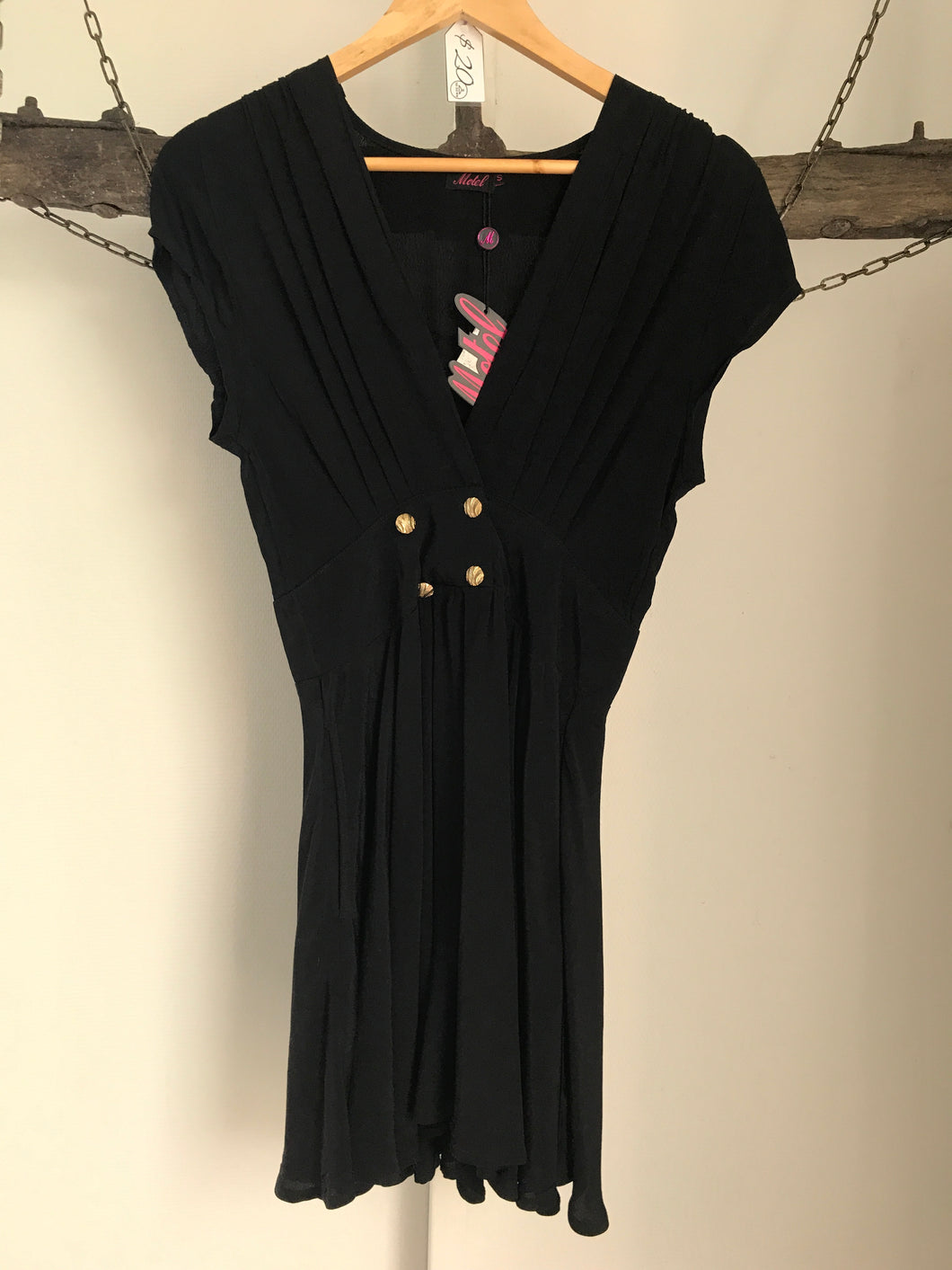 Motel Black Gold Buttons  Dress Size 8NWT