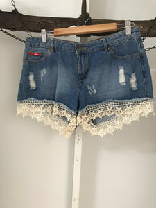Lee Cooper Denim With Lace Trim Shorts Size (12)