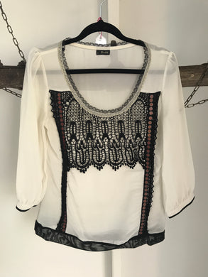 Bardot Black/White Lace Blouse Size 8