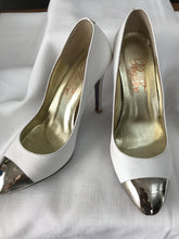 Peep toe white leather with silver mirrror toe stiletto Size 37