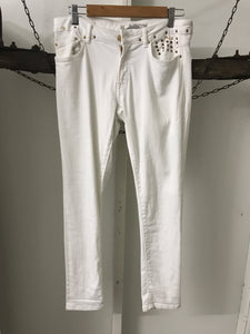 Zara Woman White Gold Studs Straight Jeans Size 30(estimate 12)