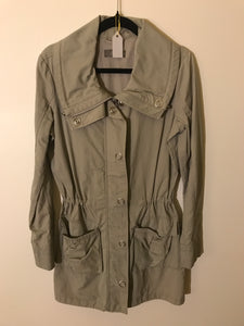 JacquiE khaki/olive green button and zip jacket Size 6