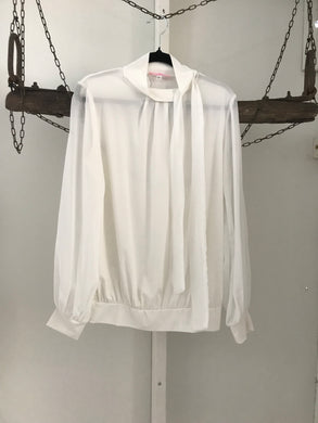 Pang Zhi Mei white long sleeve blouse with neck tie Size XL (estimated 12)