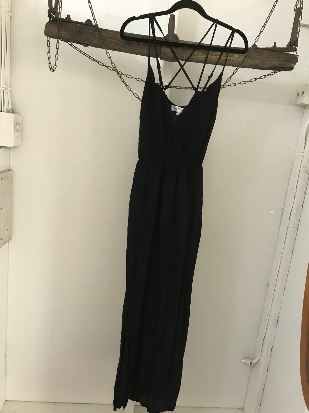 Showpo black maxi strapy dress Size 10