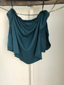 City Chic off the shoulder bottle green satin top Size S (estimated 16)