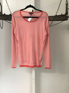 Gap apricot and white stripe long sleeve top size S (estimated 8)