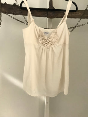 Barkins off white sleeveless swing top chest embroidery Size 8