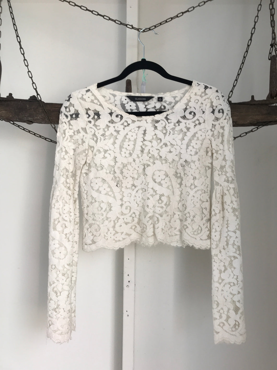 Glassons White Lace Long Sleeve Top Size 6