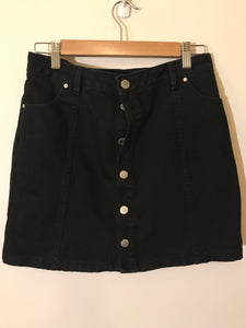 Forever New black denim button skirt Size 10