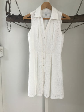 Forever New White Collar And Button Up Dress Size 8