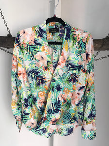 ICE Fashion Tropical Floral Green Top Size XS 6-8