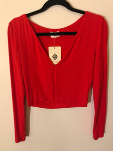 Morning Mist red long sleeve top Size 12 NWT