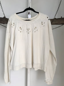 Dotti Off White Long Sleeve Top Size L (12)