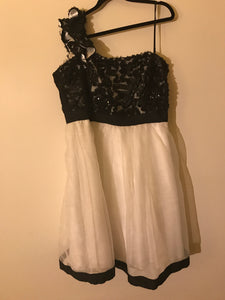 City Chic black and White ruffle, sequin cocktail dress Size XS ( estimated 14)