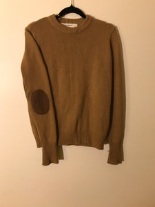 Zaraknit brown jumper with leather elbow patch Size S (estimated 8)