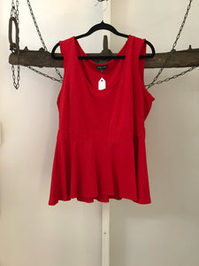 City Chic red peplum sleeveless top Size XS (14)