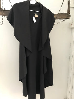 Timeless by Vanessa Tong long sleeveless black cardigan size 12