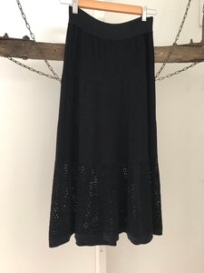 Forever New black mid length skirt with knitted base Size S estimated 6-8