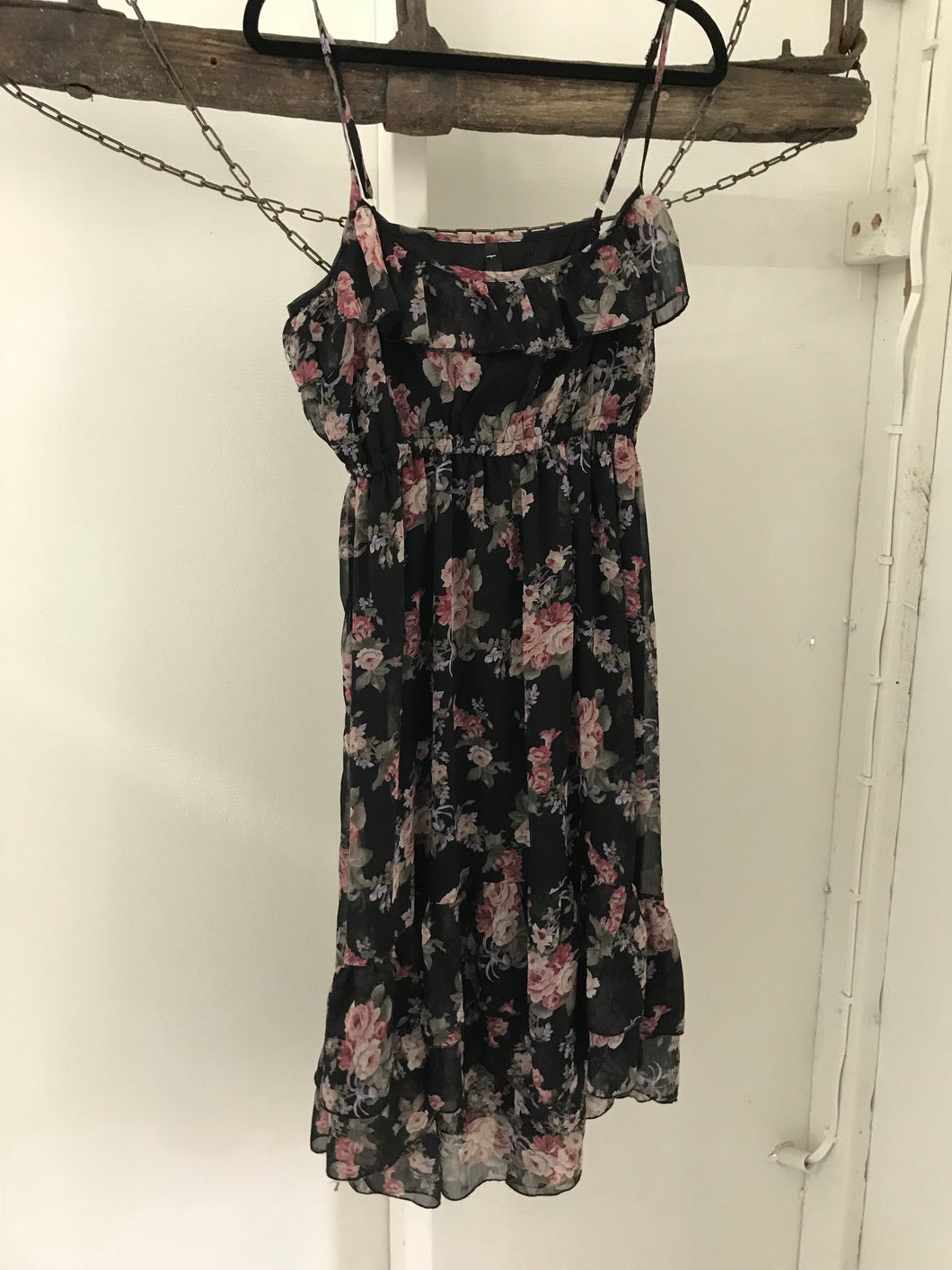 Ally black and floral thin strap shear ruffle dress Size L (estimated size 12)
