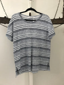 Bleu Gray navy /white stripe T-shirt top Size S (estimated 10)