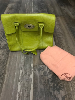 Mulberry lime green tote bag with dust cover