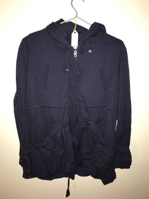 Paper Scissors navy trench coat/ with hood jacket Size 10