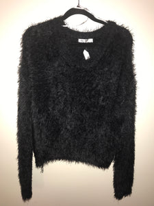 Paper Scissors black faux fur jumper Size L (estimated 12)
