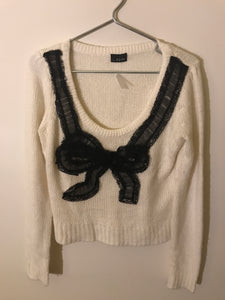 Bardot cream knit jumper with black bow motif Size 10
