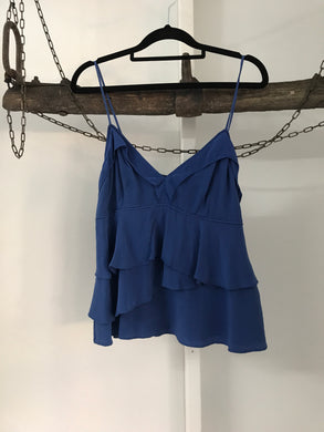 Country Road blue ruffle shoe string strap top 100% Silk Size S ( 8)