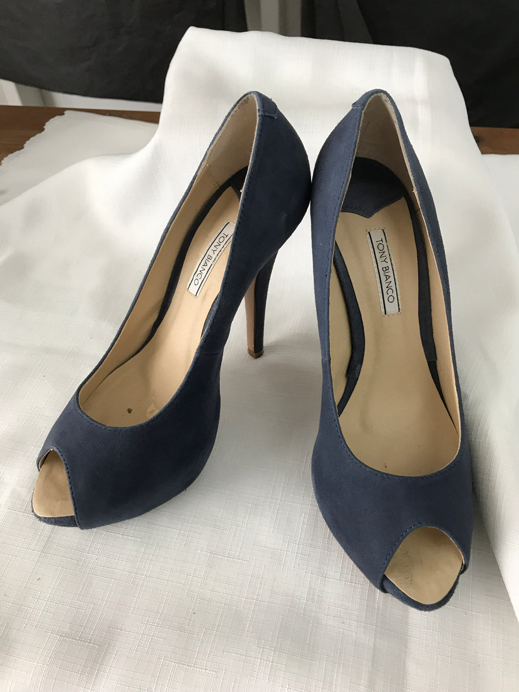 Tony Bianco blue peep toe pumps size 7 1/2