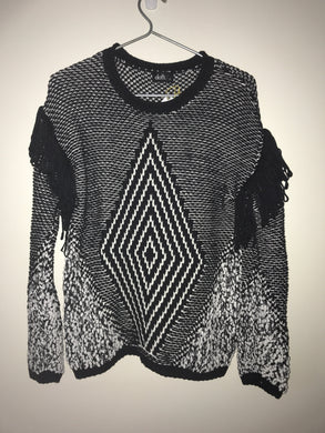 Dotti black and white knit jumper Size S (10